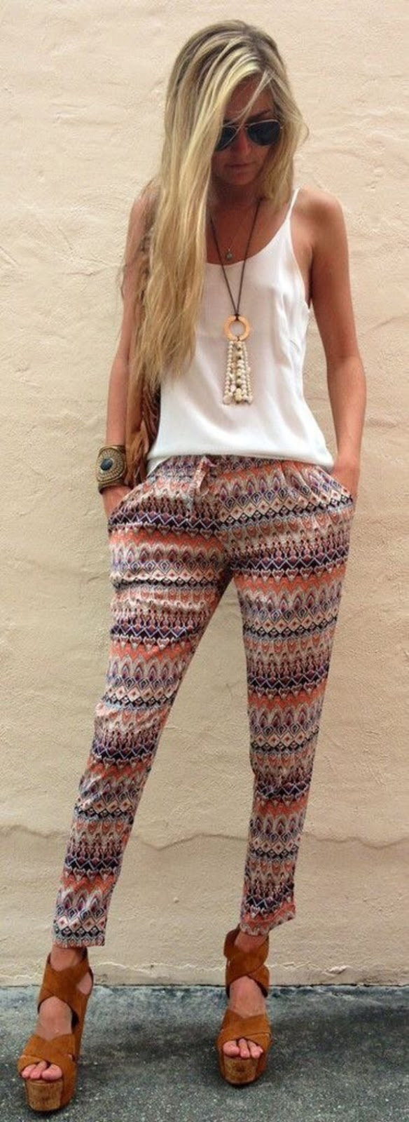 cool boho style outfit: top + pants
