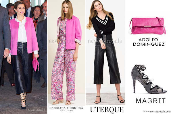 Queen wore a fuchsia colored CAROLINA HERRERA jacket. The Queen also wore black leather trousers by UTERQUE produced with a limited number and a white HUGO BOSS shirt. In addition, she wore black suede and leather mixture sandals by MAGRIT and carried a fuchsia colored hand bag by ADOLFO DOMINGUEZ. She completed her outfits by an earring by TOUS jewellery.