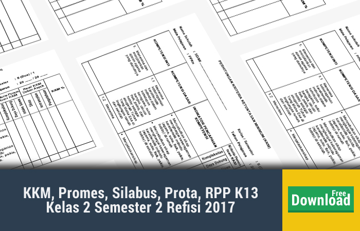 KKM, Promes, Silabus, Prota, RPP K13 Kelas 2 Semester 2 Refisi 2017