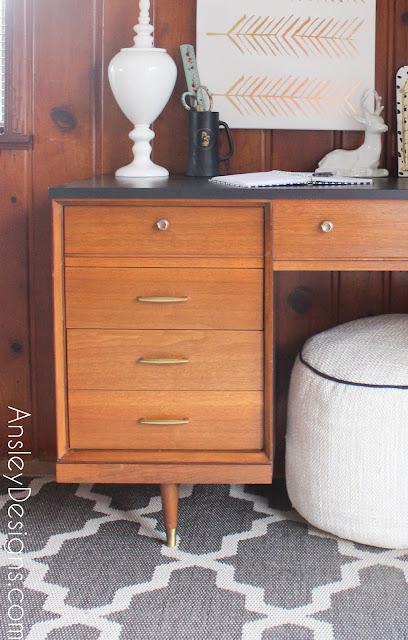 Vintage Mid-Century Modern Painted Desk MCM midcentury