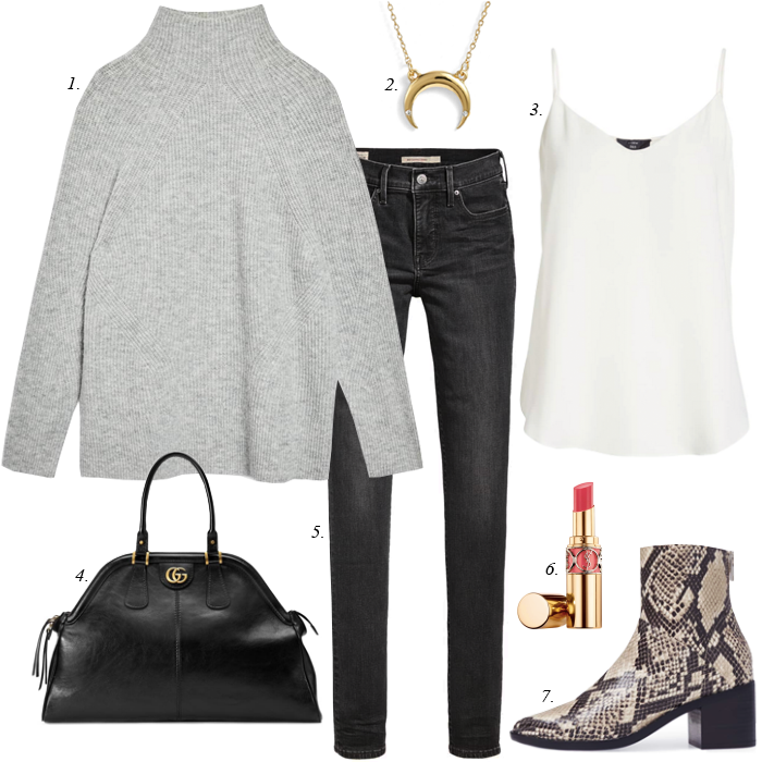grey jeans, grey sweater, black satchel, crescent pendant necklace, snake boots