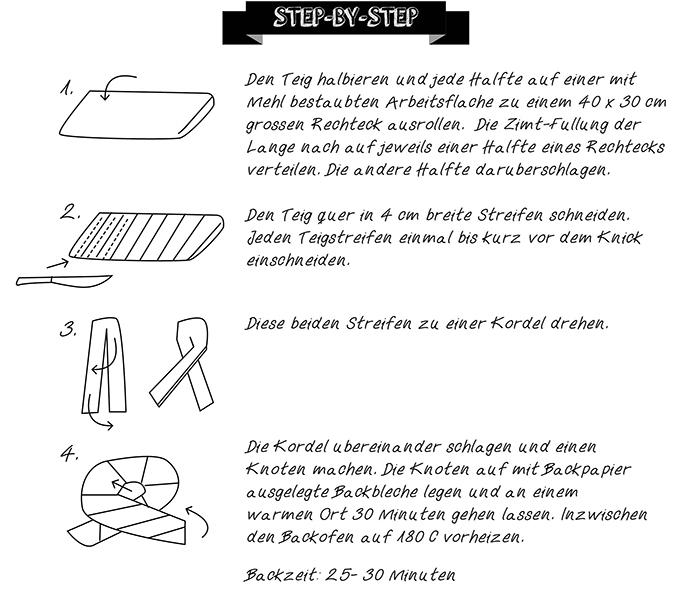 Step by Step Anleitung für Kanelknutar