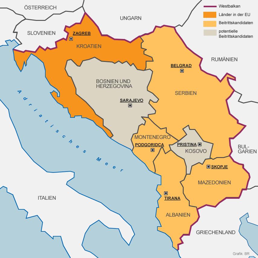 Servië, Macedonië, Albanië, Montenegro, Kroatië, Bosnië-Hercegowina