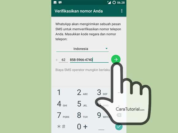 Verifikasi nomor telepon akun WhatsApp