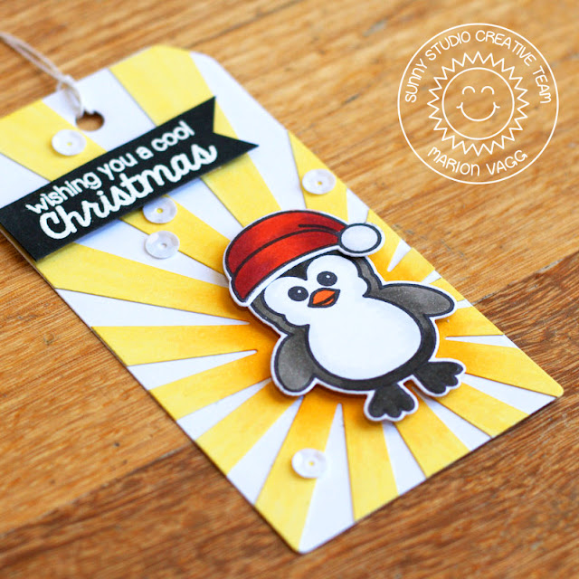 Sunny Studio Stamps Bundled Up Cool Christmas Penguin Holiday Gift Tag by Marion Vagg.
