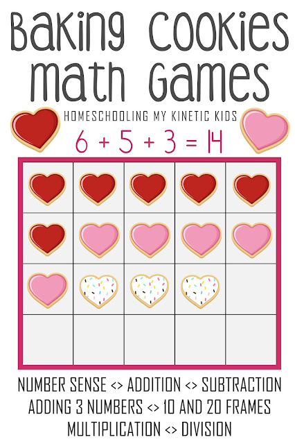 Cookie Baking Hands On Math Games // Homeschooling My Kinetic Kids // number sense, addition, subtraction, adding 3 numbers, 10-frame math, 20-frame math, multiplication, division, elementary math, kindergarten math, pretend play disguised as learning