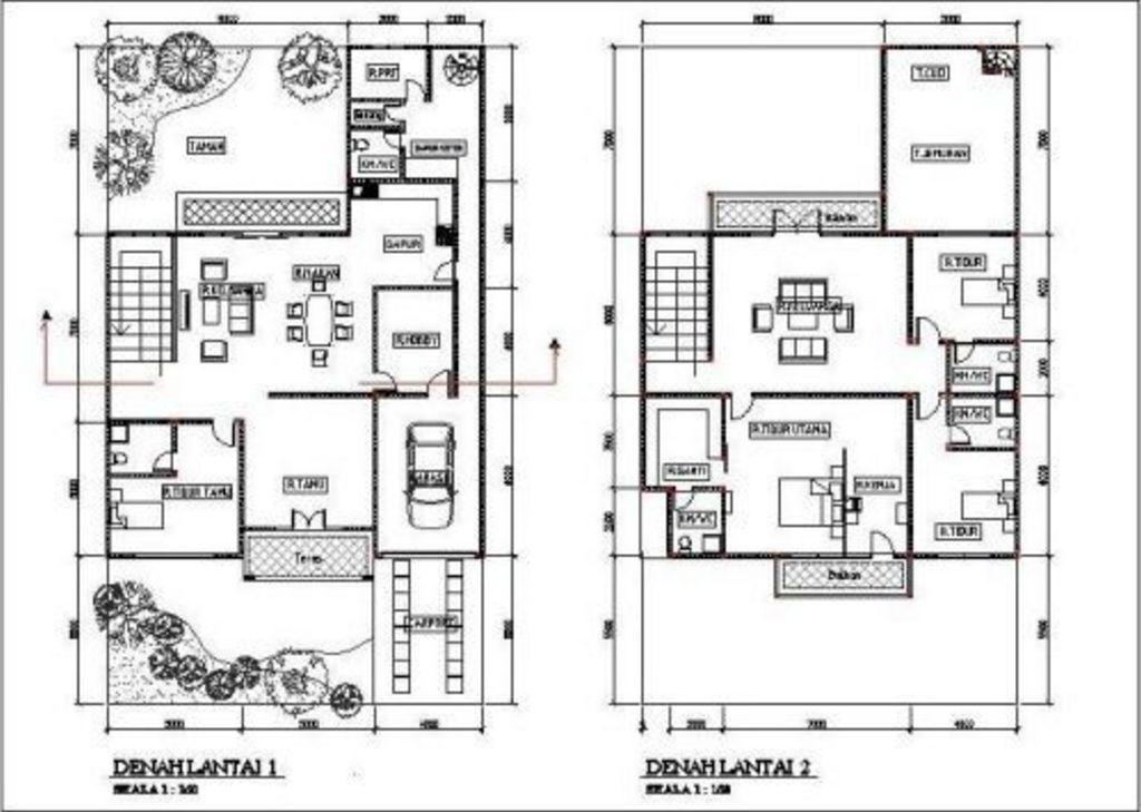 Rancangan Denah Rumah Modern 2 Lantai Idaman