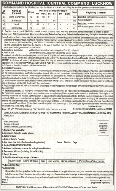 Command Hospital Lucknow Recruitment