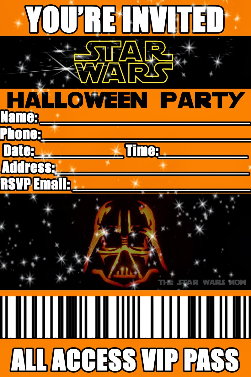 star wars free printable halloween party invitation the star