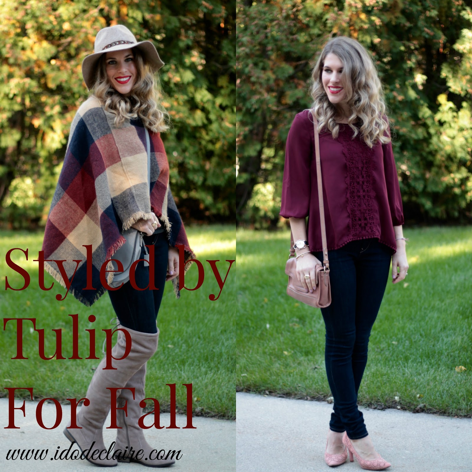 wo casual fall outfits by Tulip, plaid poncho, Express dark rinse jeggings, panama hat, Michael Kors saddlebag, Sole Society Valencia boots, burgundy blouse, blush crossbody bag, blush laser cute heels