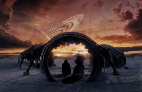 Vue de Magrathea, planète légendaire d'H2G2 : Le Guide du voyageur galactique