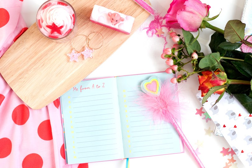 styled journal flowers flatlay