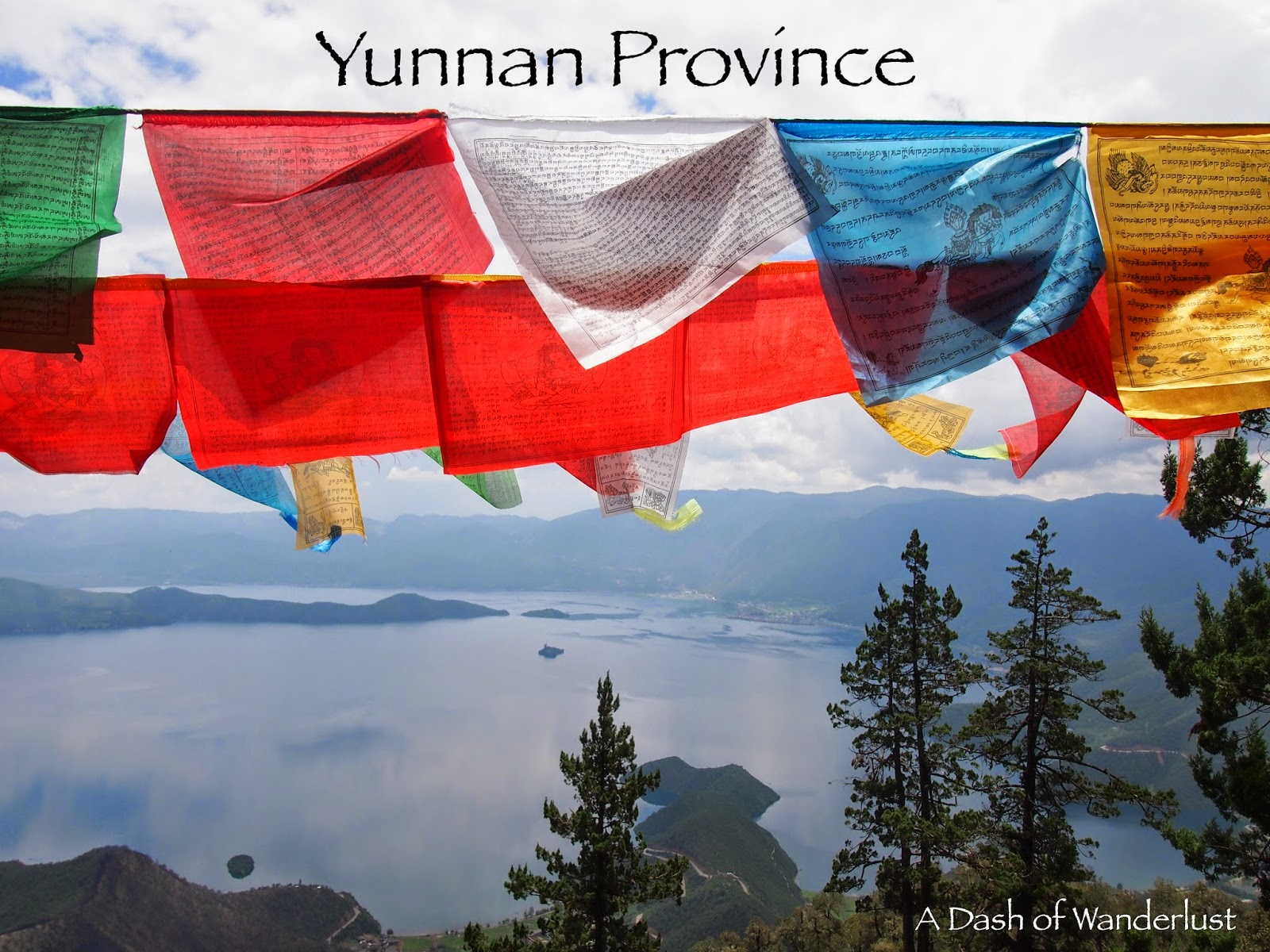 Prayer flags on Lion Mountain overlooking Lugu Lake in Yunnan Province, China
