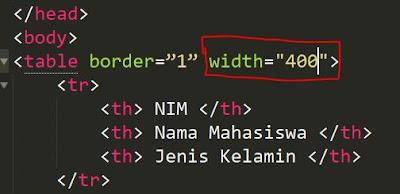 cara mengatur tabel di html dengan pixel