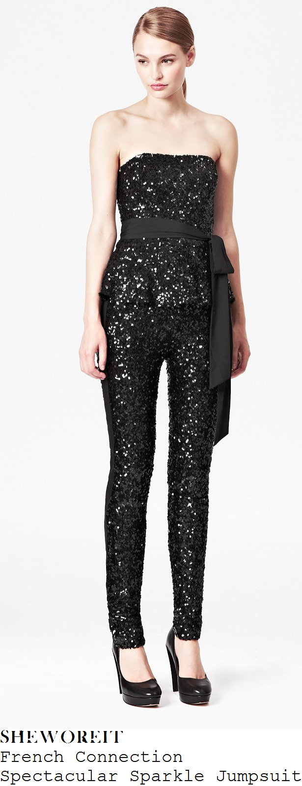 36131b6cab5 Tamera Foster's French Connection Spectacular Sparkle Black All Over Sequin  Embellished Strapless Sleeveless Slim Fit Jumpsuit With Peplum Waist & Tie  Bow ...
