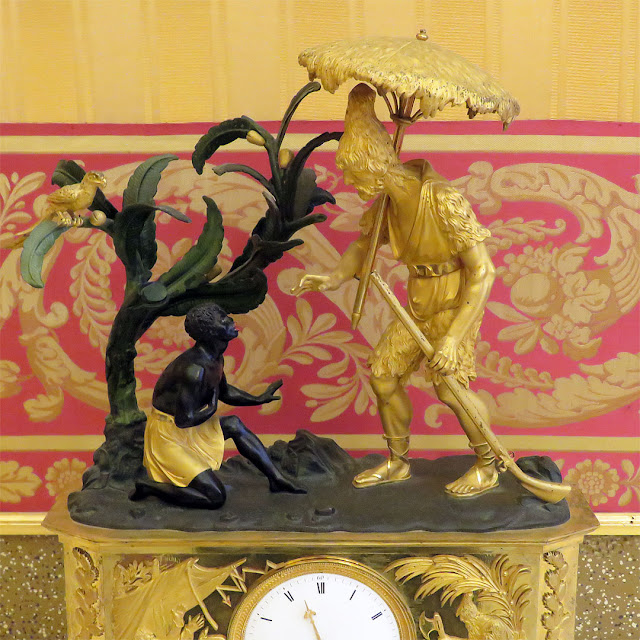 Robinson Crusoe and Friday on a 19th century French clock, Galleria Palatina, Palazzo Pitti, Florence