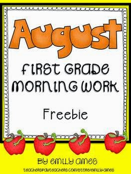 http://www.teacherspayteachers.com/Product/August-First-Grade-Morning-Work-FREEBIE-825604