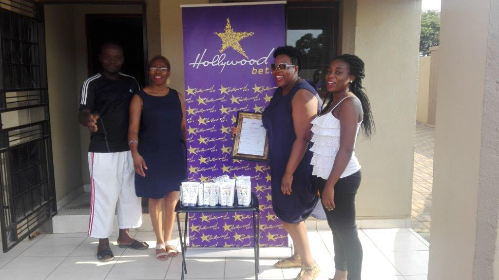 Staff members at Angels of Hope for Albinism are thankful for a donation from Hollywoodbets Mokopane
