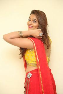 Actress Ashwini Po Shoot Stills In Red Saree With Golden Choli (14).jpg
