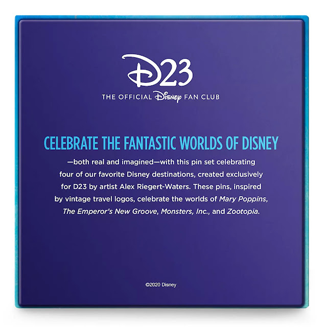 D23 Exclusive Pin Set - Fantastic Worlds Mary Poppins, The Emperor's New Groove, Monsters Inc and Zootopia
