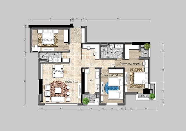 Thiết kế căn hộ A chung cư Iris Garden