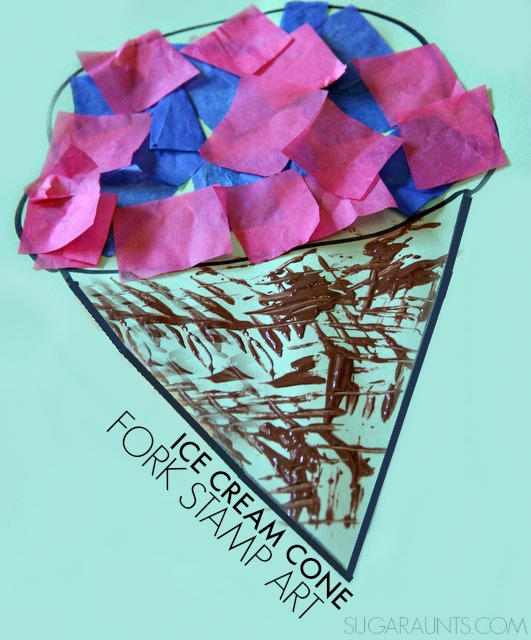 Fork Stamped Ice Cream Cone Craft. This is perfect for kids to make this summer!