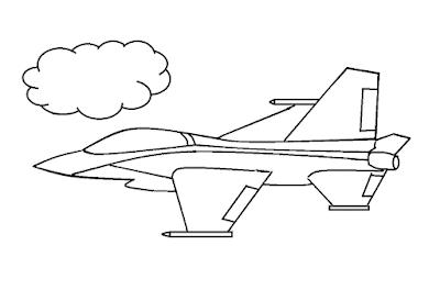 Gambar Mewarnai Pesawat Terbang - 13