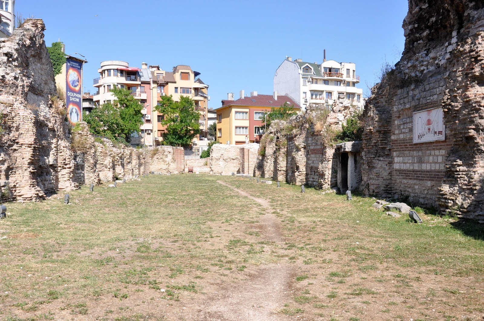Ancient ruins surrounded by blocks of flats, The Roman Thermae, Varna, Bulgaria