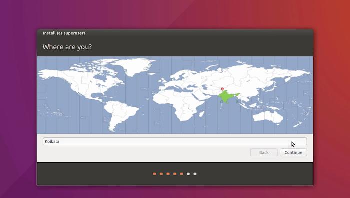 Select Time Zone | Installation of Ubuntu