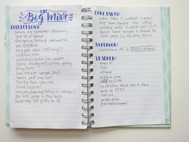 "a bullet journal spread titled ""the big move"" to help plan the setup"