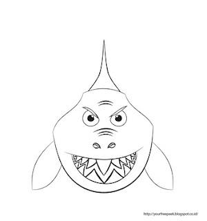 gambar belajar mewarnai hiu