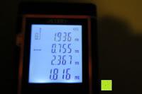 Messung: Laser-Entfernungsmesser, Jetery Digital Laser Distanzmessgerät Messung von Distanz, Flächen, Volumen|+/-2mm Messgenauigkeit|Laser Distanzmesser m/in/ft IP54 Schutz mit LCD Display, Wasserwaage, Batterien, Schutztasche (40M)