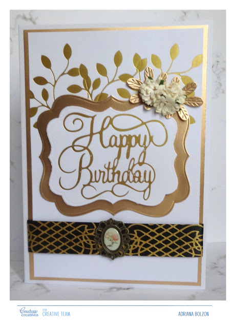 A Golden Birthday Card With Adriana Couture Creations