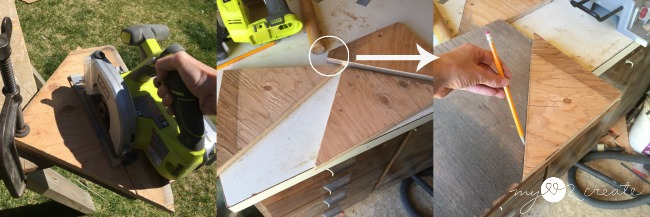 cutting scrap shelves to fit