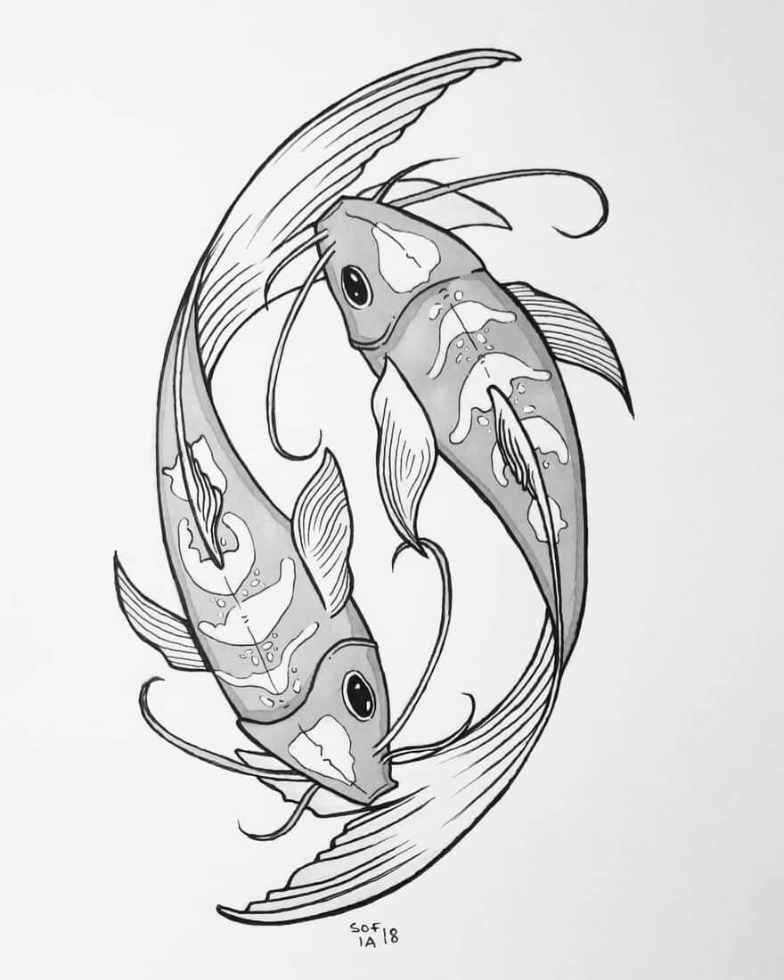 08-Zen-Koi-Fish-Sofia-Härö-Black-and-White-Ink-Animal-Drawings-www-designstack-co