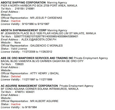 A portion of the list of POEA accredited agencies.