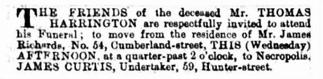 Burial notice of Thomas Harrington, 22 July 1874