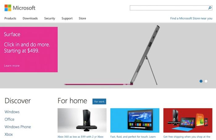 homepage sito microsoft 2012