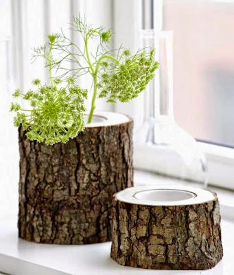 macetas hechas con tronco