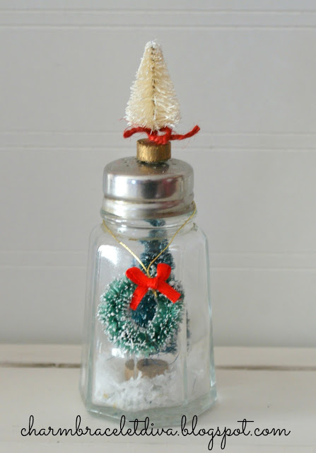DIY vintage salt and pepper shaker snow globes bottle brush trees wreath