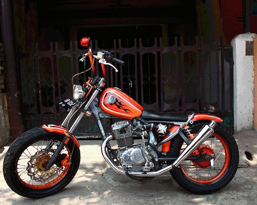Modifikasi cb 100 drag racing trail cafe racer retro jap