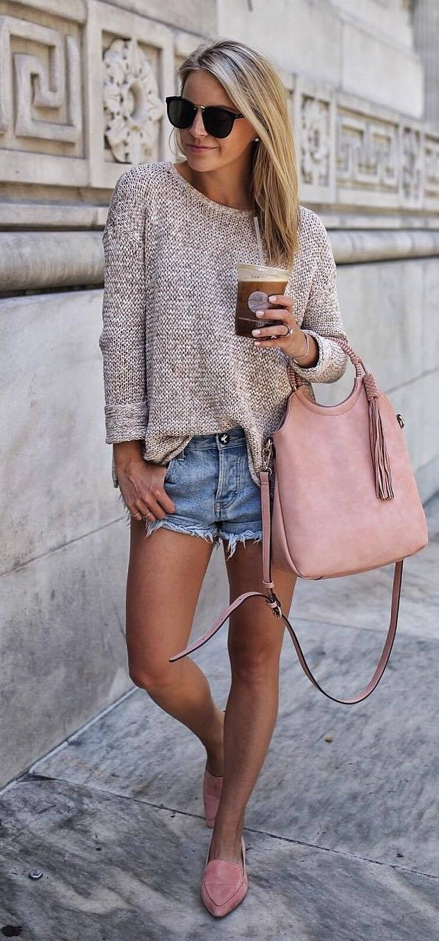 what to wear with a pink loafers : bag + sweater + shorts