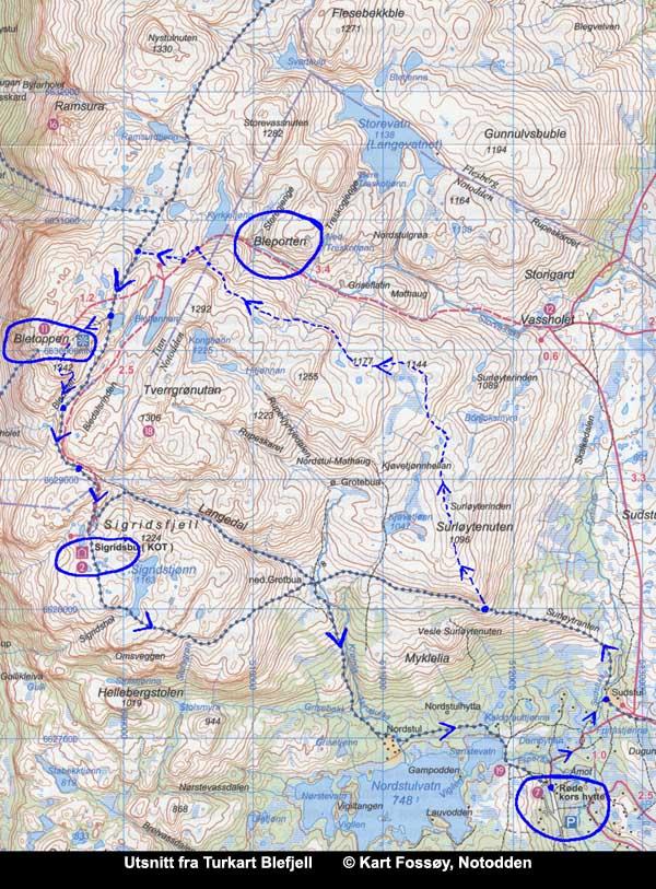 kart blefjell Blefjell fotturer: Nordstul til Bletoppen   inn bakveien (via  kart blefjell