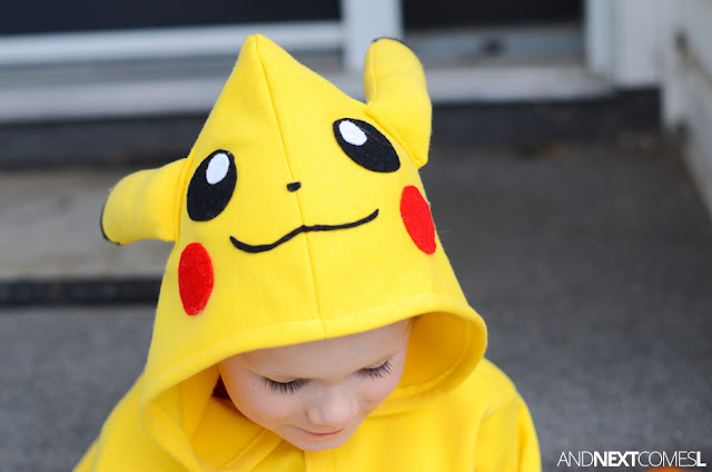 Homemade Pikachu costume for kids from And Next Comes L