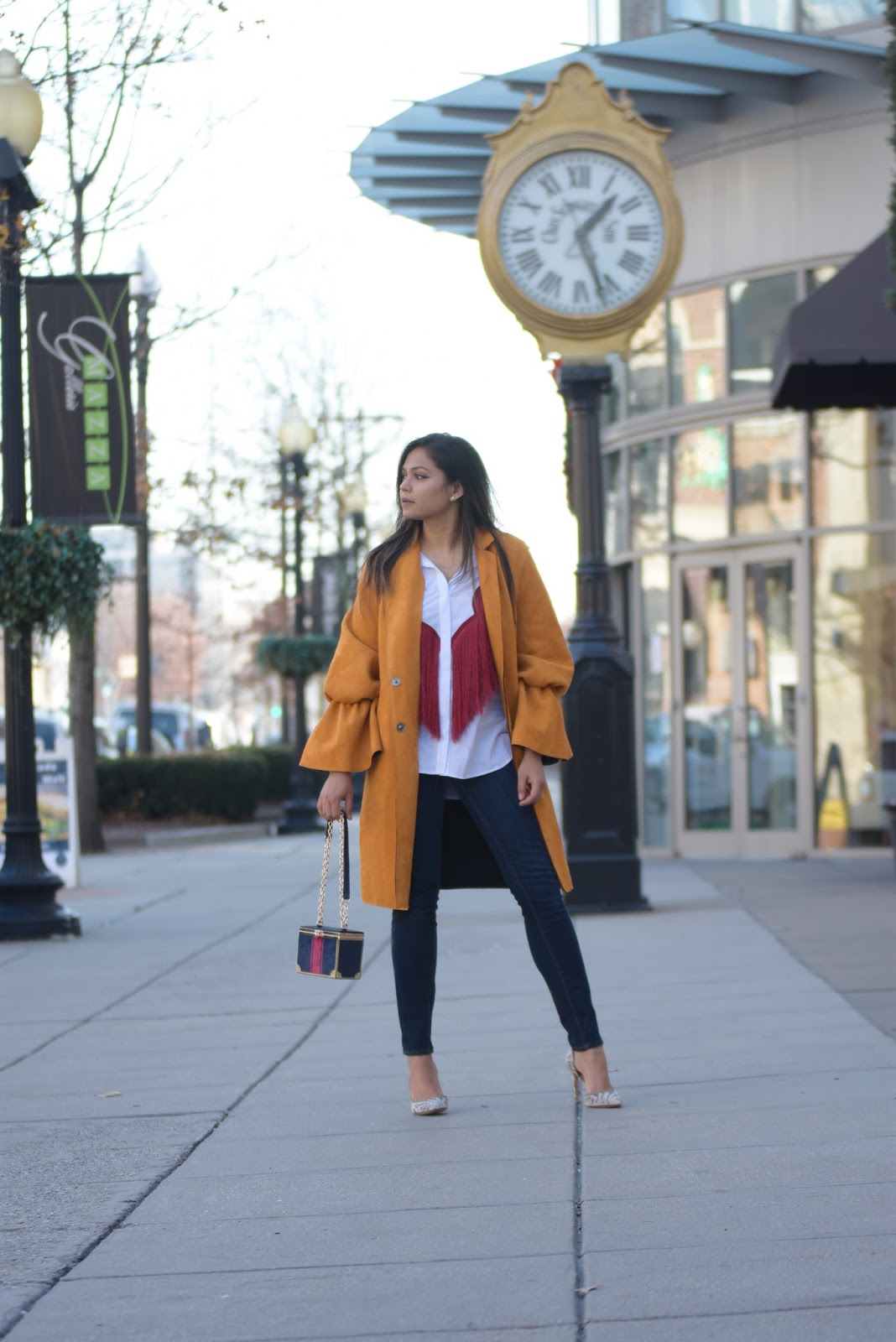 how to wear tassel in winter, denim outfit, mustard suede ruffle sleeve forever 21 coat, suede jacket, casul, street style, fashion, casual holiday look, myriad musings