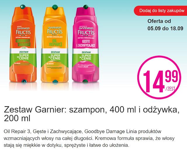 Zestaw Garnier, szampon i odżywka - Biedronka, promocja