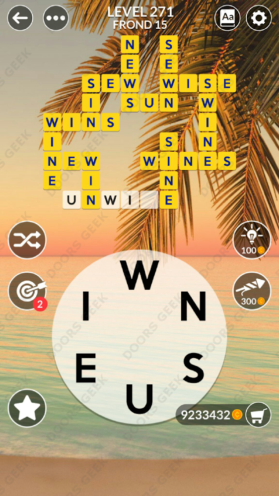 Wordscapes Level 271 answers, cheats, solution for android and ios devices.