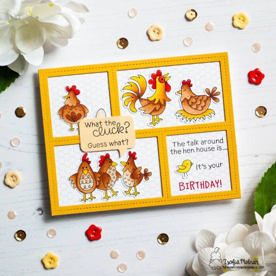 Chicken Card by Zsofia Molnar | Cluck Stamp Set and Speech Bubble Die Set by Newton's Nook Designs #newtonsnook #handmade