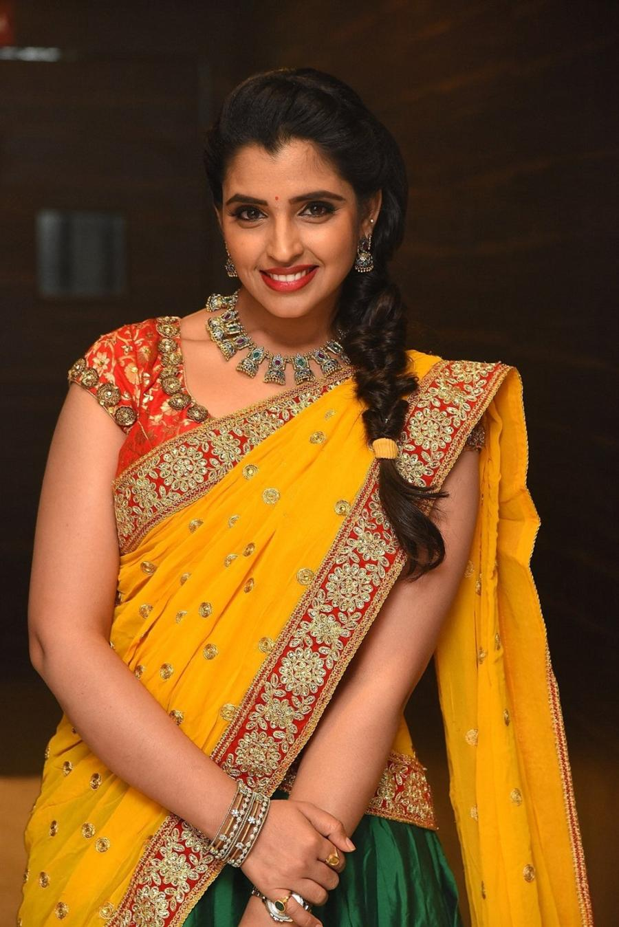 Indian TV Anchor Syamala In Yellow Half Saree at Movie Pre-Release Function