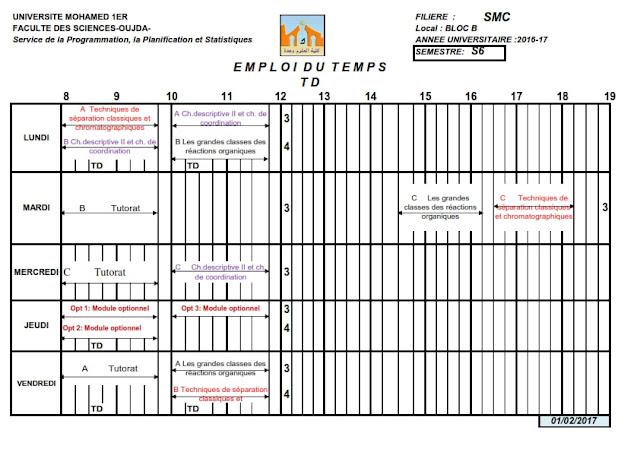 SMC S6 : Emploi du temps des TDs 2016/2017